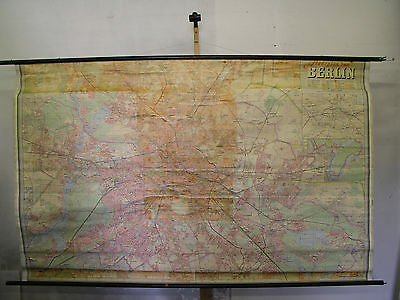 Schulwandkarte Wandkarte wall map card Berlin city of Stadtplan 233x145cm ~1965