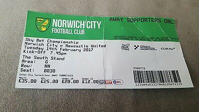 norwich v newcastle used ticket 14.2.17