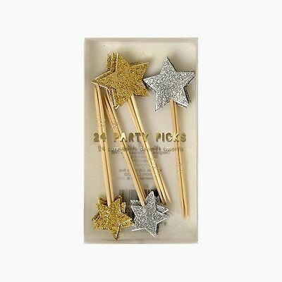 Meri Meri Silver And Gold Glitter Star Cake Toppers Food Picks Space Party x24