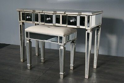 Antique Silver Venetian Dressing Table Console 3 Drawers with stool set