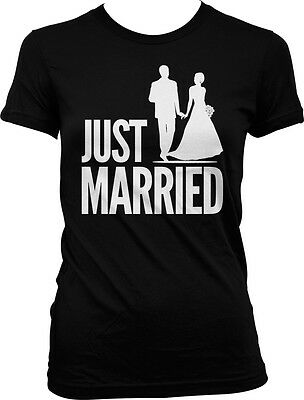 d431fca8ddafcd Just Married - Husband Wife Bride Groom Wedding Love Party Juniors T-shirt