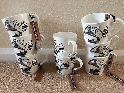 Job Lot x 8 Queens Churchill Mugs You're Music To My Ears Car Boot Bundle Resale
