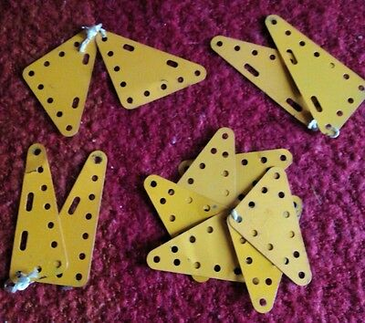 Meccano Lot of Pieces Inc Yellow Flat square and triangular metal Plates.Vintage
