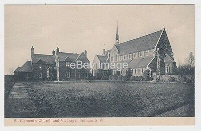 Fulham - St Clement's church and vicarage c.1908 postcard London