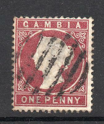 Gambia 1 Penny Stamp c1880-81 Used (wmk upright)