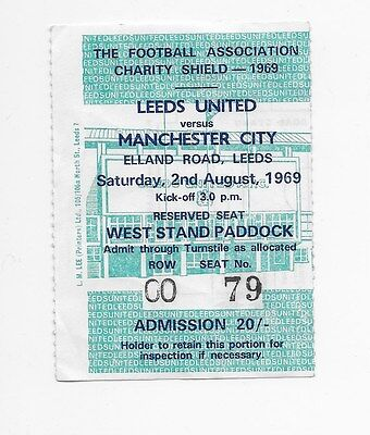 Ticket Stub 1969 Fa Cup Charity Shield Leeds United V Manchester City