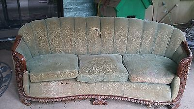 Antiques 1900's Era Ornate Wood Carved Sofa and chair Set ~ Victorian Sea Shell