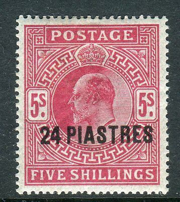 BRITISH LEVANT-1912 24pi on 5/- Carmine.  A mounted mint example Sg 34