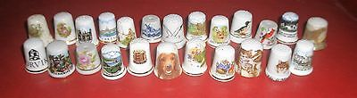 Collection of 24 bone china thimbles