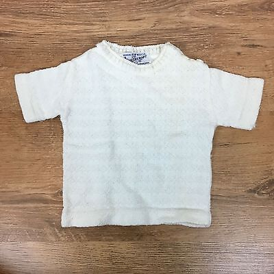 VTG 50's Youthcraft Baby 3 mos Sweater White Boucle Knit Short Sleeve (Stain)