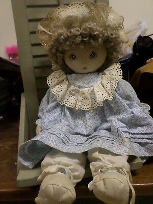 """Vintage Doll by Pauline Bjonness Jacobsen  Cloth Doll 21"""" TLC doll Staining"""