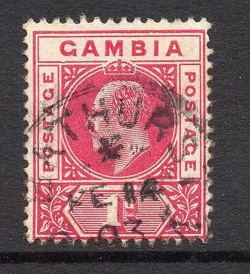 Gambia Rare 1 Penny Stamp c1902-05 Used (dented frame)