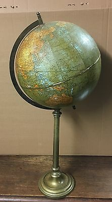 Antique Vintage Early 20Th Century Weber Costello Co Brass Terrestrial Globe Old