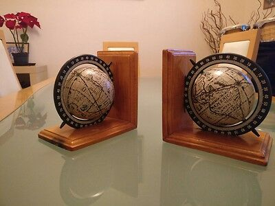 Pair of globe bookends, vintage style