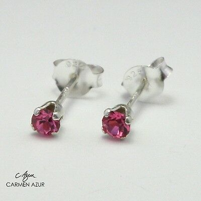 925 Sterling Silver Stud Earrings Small Crystal Rose Colour 3mm New inc Gift Bag