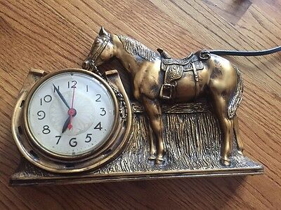 Antique vintage Mastercrafters Rodeo Horse electric clock Chicago Works