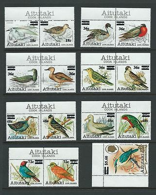 **1983 Aitutaki Birds Surcharged Full Set to $5.60 SG447-461 MNH Very High Cat**