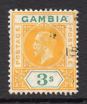 Gambia 3/- Stamp c1912-22 Used