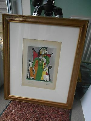 Picasso Pencil Signed Vintage Print  Framed Gallery Stamped very rare