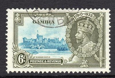 Gambia 6d Silver Jubilee Stamp c1935 Used
