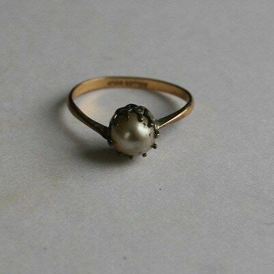 ANTIQUE VICTORIAN to ART DECO PASTE PEARL SOLITAIRE ROLLED GOLD & SILVER RING