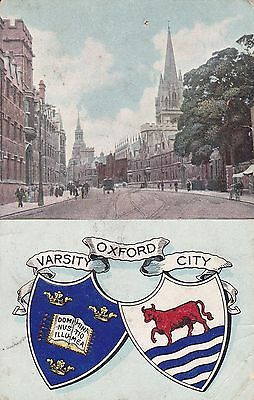 """PPC of """" Oxford , Varsity City """"  posted 1904"""