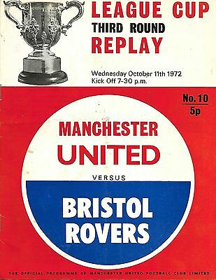 MANCHESTER UNITED v BRISTOL ROVERS League Cup 3rd Rnd Replay 1972/73 WITH TOKEN