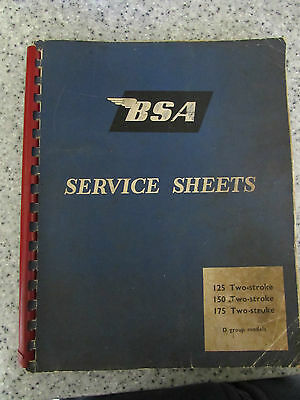 1960's Bsa Service Sheets 125, 150 & 175 Two-Stroke D Group Models