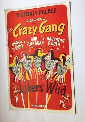 Programme for Crazy Gang Jokers Wild at Victoria Palace 1955