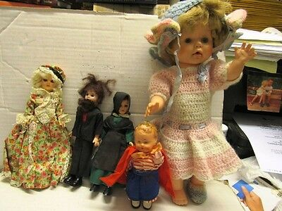 5 Vintage Dolls, Amish Couple, Plastic, Composition, Vinyl Jointed Look At These