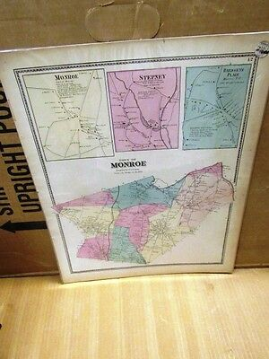 1867 Hand Colored Beers Atlas Map Town Of Monroe, Fairfield County Ct