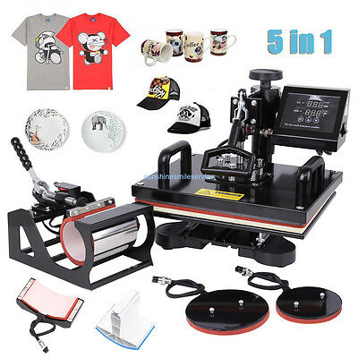 "5 in 1 15""x12"" Transfer Sublimation Heat Press Machine T-Shirt Mug Hat Plate"