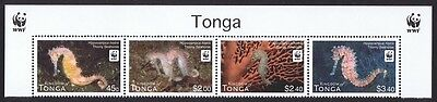 Tonga WWF Thorny Seahorse Top strip of 4v with WWF Logo SALE BELOW FACE VALUE