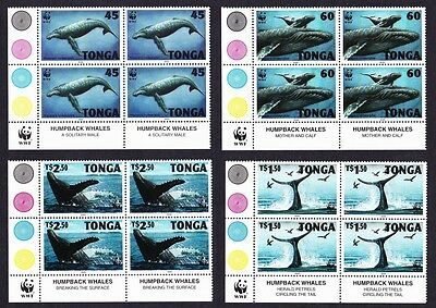 Tonga WWF Humpback Whale 4 Bottom Left Corner Blocks of 4 SG#1337/40 SC#915-18
