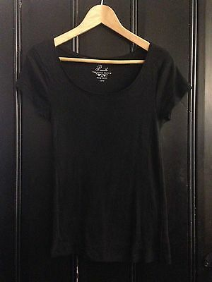 Black Scoop Neck Jersey T Shirt Cotton Size 10 Peacocks Tee Womens