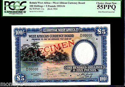 """BRITISH WEST AFRICA P11s """"RIVER SCENE"""" 5 POUNDS 100 SHILLINGS PCGS 55PPQ !"""