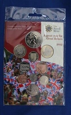2012 Royal Mint 10 coin Uncirculated set in Folder - Factory Sealed   (AR2/1)