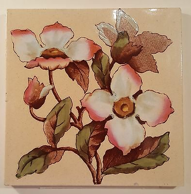 Excellent floral tile by George Woolliscroft & Son, 1898