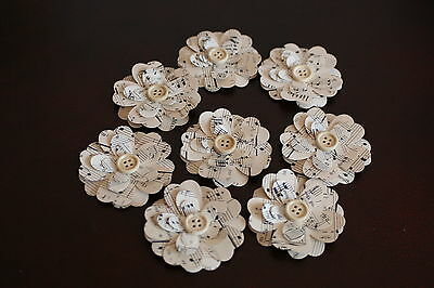 8 Handmade 3D Vintage Music Paper Flowers With Button Center