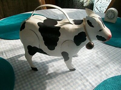 """Large Black And White Cow Water Can With Cow Bell Must See-10"""" High-14"""" Long"""