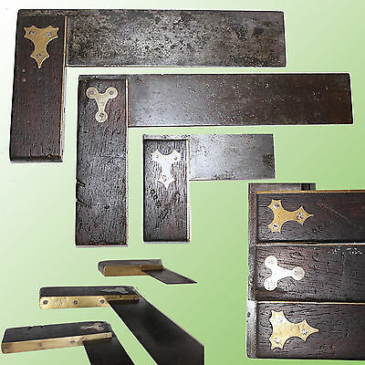 """Group Of 3 Different Vintage Rosewood Brass Bound Try Squares Two 9"""""""