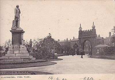 """RPPC of """" Manchester , Peel Park  """"  posted 1904"""