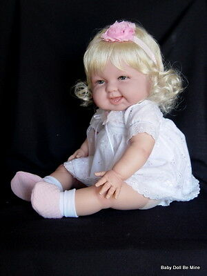 "New 18 "" Berenguer Baby Doll ~ makeover ~ in new white eyelet dress"