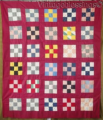 "Excellent Antique c1880 Cranberry Nine Patch Quilt Top 82"" x 70"""
