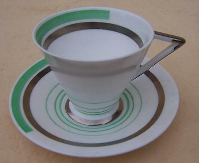 Shelley Green & Silver Bands Art Deco Mode Cup & Saucer 12133