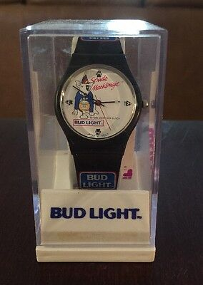 Spuds Mackenzie Bud Light Wrist Watch Mint, Unused In Original Case Black
