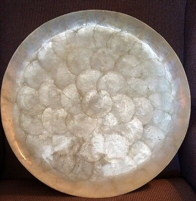 Large Vintage Round CAPIZ SHELL Serving Tray Made for Gump's in the Philippines