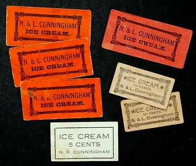 ANTIQUE Vintage N & L CUNNINGHAM Advertising Card ICE CREAM PARLOR Coupon
