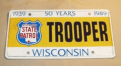1989 Wisconsin State Patrol  License Plate - Trooper