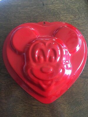 Disney Mickey Mouse Red Heart Shaped Cake Pan Mold Teflon Lined New!